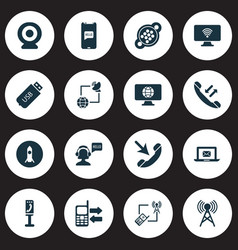 connection icons set with greeting female operator vector image