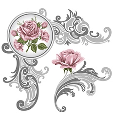 corner piece ornament roses vector image