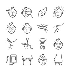 Cosmetic surgery line icon set vector