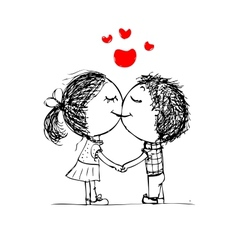 Couple kissing valentine sketch for your design vector