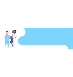 couple medical doctors team standing together mix vector image