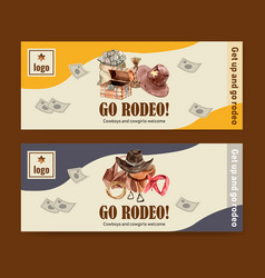 Cowboy banner design with vest saddle chest money vector