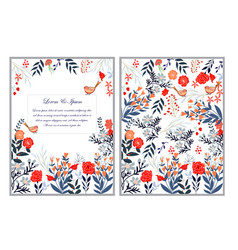 Cute sweet red pink and blue wild floral flower vector