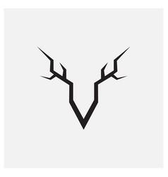 Deer horn minimalist vintage logo design vector