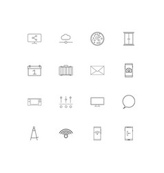 Devices linear thin icons set outlined simple vector