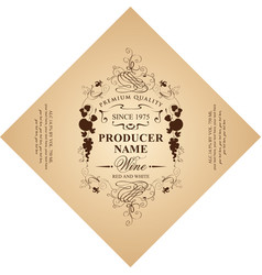 diamond shaped wine label with ornate pattern vector image
