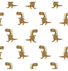 dino simple brown color seamless pattern vector image