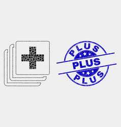 dotted medical data icon and scratched plus vector image
