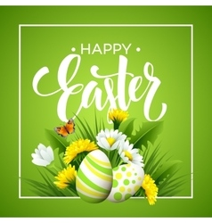 Easter greeting Lettering Flower Egg vector image