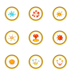 explosion icons set cartoon style vector image