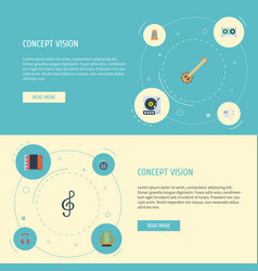 flat icons harmonica tape knob and other vector image vector image