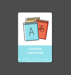 Foreign languages concept with a dictionary and vector
