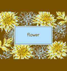 frame with fluffy yellow dahlias vector image