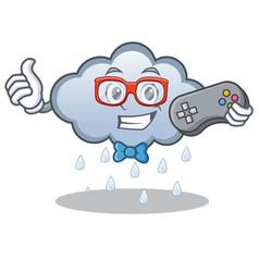Gamer rain cloud character cartoon vector