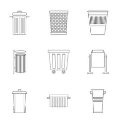 Garbage container icon set outline style vector