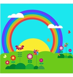 garden with butterfly rainbow vector image