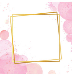 Golden modern frame with a watercolor effect vector