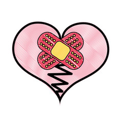Grated heart love broken with aid band vector