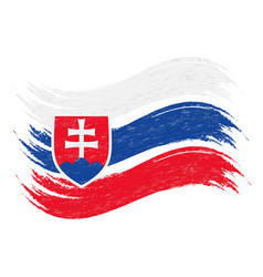 Grunge brush stroke with national flag of slovakia vector
