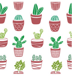 Hand drawn seamless pattern with cacti vector