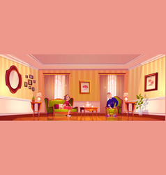 happy couple in living room in victorian style vector image