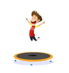 Happy preschool kid jumping on trampoline vector