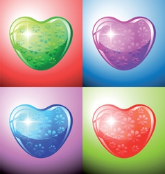 Heart shapes on colorful background vector