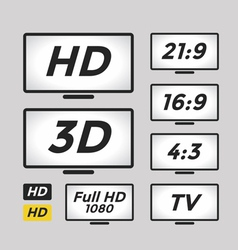 High definition icon and TV monitor vector