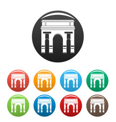 historical arch icons set color vector image