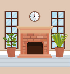 home place with chimney scene vector image