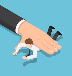 isometric big hand pushing businessman down on vector image