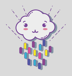 kawaii cloud with color rainbow in lines vector image