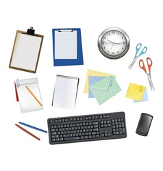 Keyboard and office supplies vector