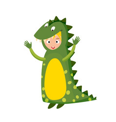 Kid crocodile costume festival superhero character vector