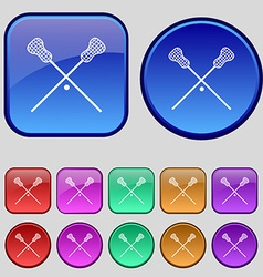 Lacrosse Sticks crossed icon sign A set of twelve vector
