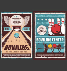 leisure recreation sport bowling center poster vector image