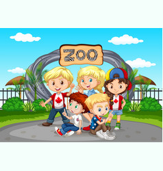many children visiting zoo vector image