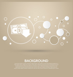 money cash icon on a brown background with vector image