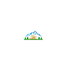 mountain peak hill pine tree logo vector image