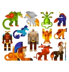 Mythical creatures icons vector