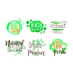 natural organic food labels set bio farm product vector image