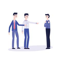 Office harassment bully men mocking victim vector