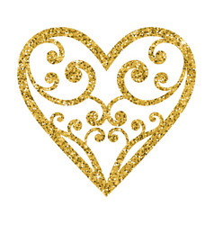 ornamental glitter valentines day heart on a white vector image