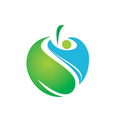 people health apple fruit abstract logo vector image
