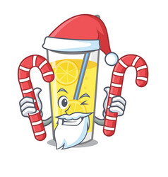 Santa with candy lemonade mascot cartoon style vector