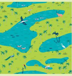 Seamless pattern bird sanctuary landscape vector