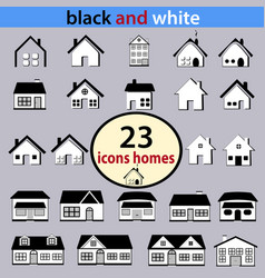 set black and white houses vector image