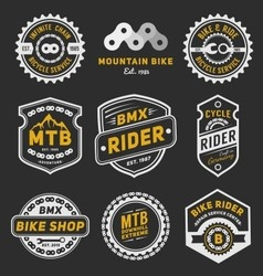 Set of bicycle badge logo template design vector