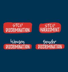 Set of discrimination racism and harassment label vector