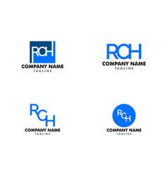 set of letter rch element logo design vector image